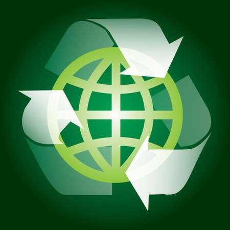 Vector background with eco sign, illustration with globe and recycling sign Stock Vector - 12934224