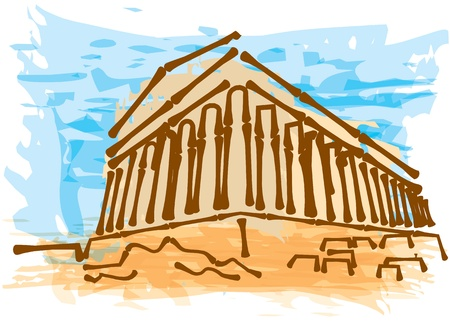 athens: Grrek ancient building, travel desitnation concept - abstract hand drawn illustration
