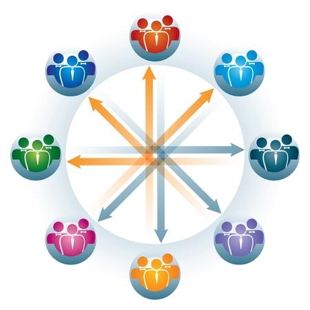 Raccordement au réseau social, illustration abstraite avec des figures humaines