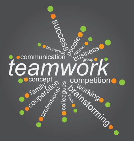 Team work concept with tag cloud on white background Stock Vector - 13126632