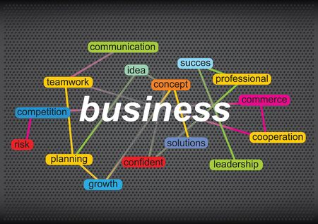 succes: Business concept with tag cloud on abstract background Illustration