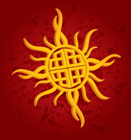 ancient ireland celtic cross: Template layout with celtic sun and decoration Illustration