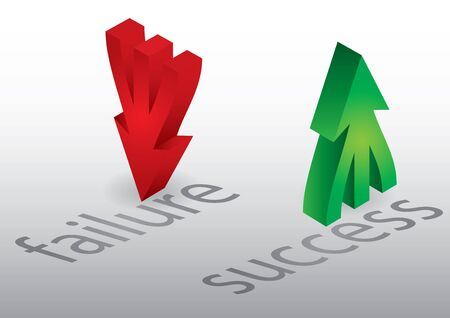 Success and failure, concept with up and down arrows Illustration