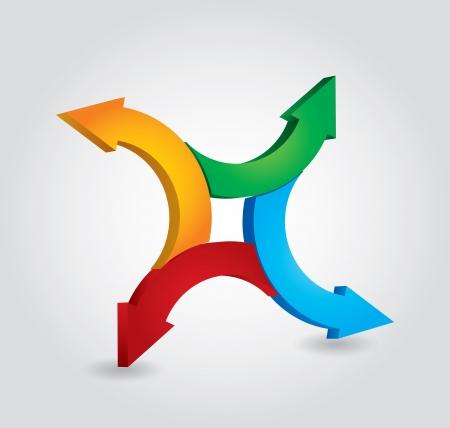 Arrows - abstrakte Verarbei-Konzept auf weißem Hintergrund