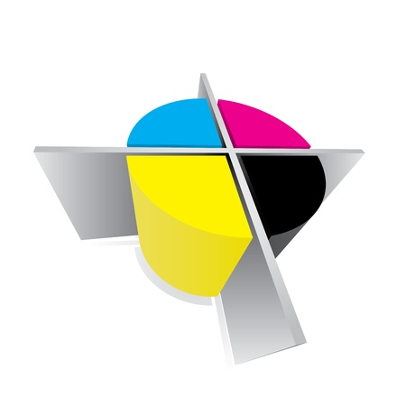 CMYK registration mark - abstract typography sign