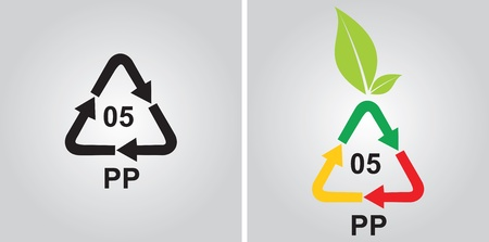 Polypropylen recycling code - ecology concept with abstract sign Stock Vector - 13656705