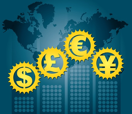 Major currencies - financial concept, illustration with symbol and text Vector