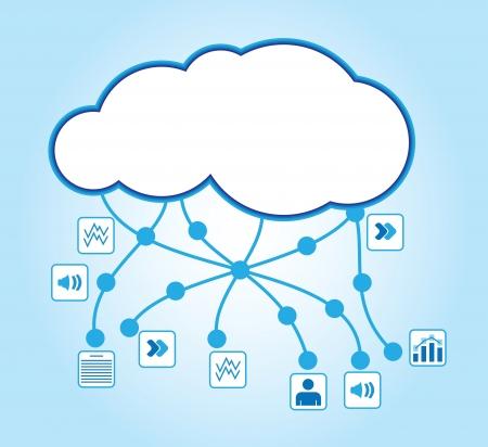 클라우드 컴퓨팅 - 문서 아이콘 통신 개념