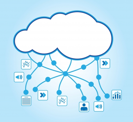 cloud industry: Cloud computing - communication concept with document icons