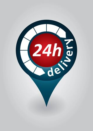24h: 24h delivery tag - abstract fast courier sign Illustration