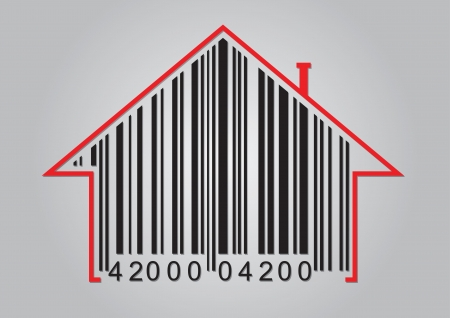 Commercial concept with barcode and abstract house icon Vector