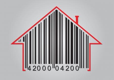 codigos de barra: Concepto comercial con código de barras y el icono de la casa abstracta