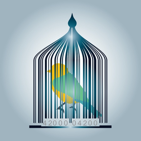 Bar code cage with color bird - the hours of captivity escort cult Vector