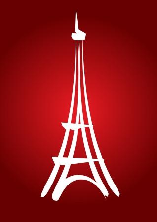 dibujado a mano abstracta la torre Eiffel con el fondo amarillo, para la tarjeta, invitación