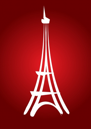 eiffel tower: dibujado a mano abstracta la torre Eiffel con el fondo amarillo, para la tarjeta, invitaci�n