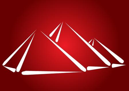 Pyramide, concepto de viaje desitnation - resumen ilustración mano dibujado