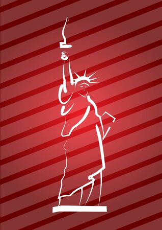 Statue Of Liberty, hand drawing illustration with background Vector