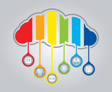 Cloud computing - communication concept with document icons  Stock Vector - 14845336