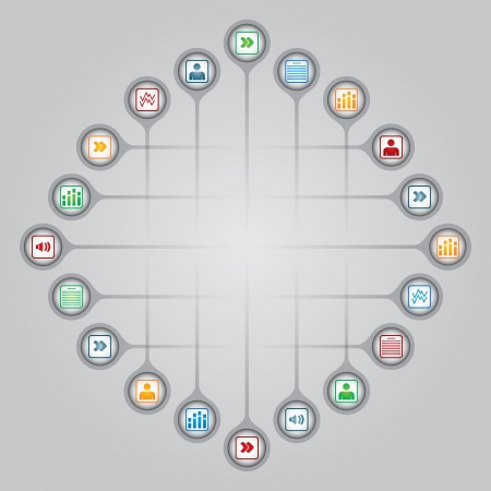 Network concept - document sharing illustration with icons 일러스트