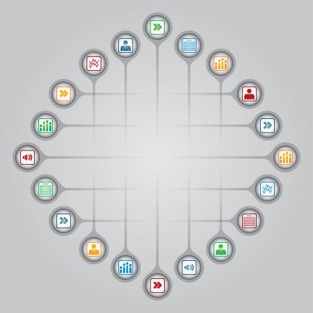Concept de réseau - illustration partage de documents avec des icônes