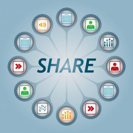 Comparte cartel con iconos de documentos - Concepto de comunicación
