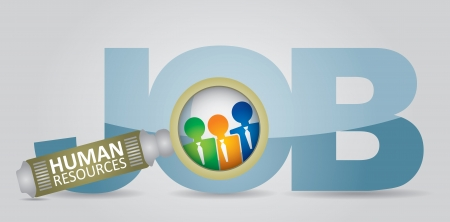 job recruitment: Job search - human resource concept - abstract illustration with sign  Illustration