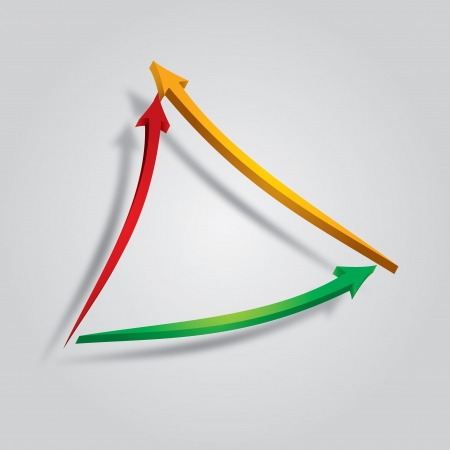 Colorful arrow made ​​up of triangles with background Vector