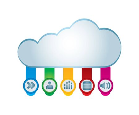 Cloud computing - communication concept with document icons  Stock Vector - 15499462