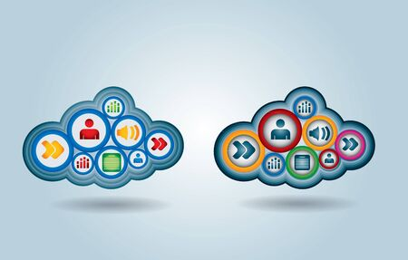 Cloud computing - communication concept with document icons  Vector