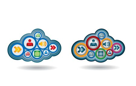 Cloud computing - communication concept with document icons Stock Vector - 15328452