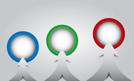 다른 색상의 대상을 가리키는 화살표