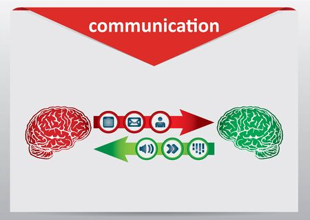 Communication concept with brain and document icons  Vector