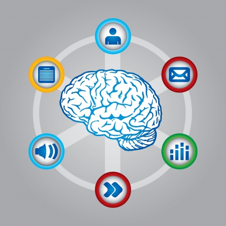 Multimedia thinking - communication concept with brain and web icons Vector