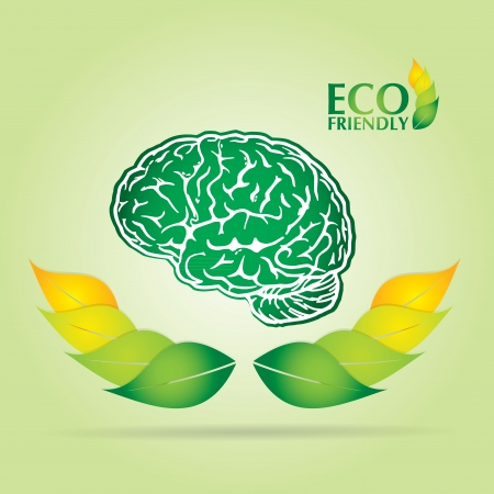 Ecology concept abstract illustration with leaf, brain and text  Çizim