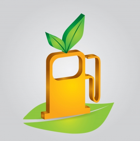 Ecology concept abstract illustration with leaf and fuel station Vector