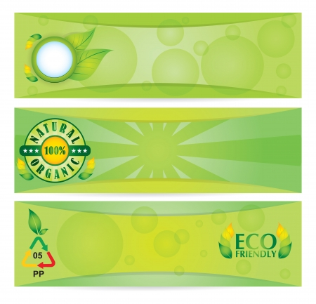 Ecology concept - banner set with abstract illustration with leaf and sins Vector
