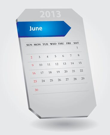 Classical monthly calendar for June, 2013 Stock Vector - 15682592