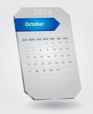 Classique calendrier mensuel Octobre 2013 Illustration