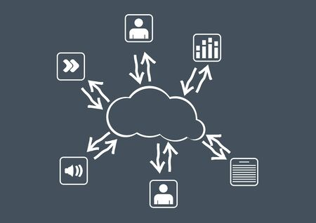 Cloud computing - communication concept with document icons Stock Vector - 15969330