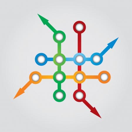 Illustration Réseau - concept de communication avec les flèches