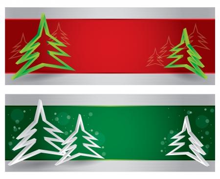web header: Feliz Navidad encabezado sitio web y la bandera con fondo abstracto Vectores