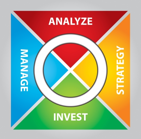 Investment package - abstract illustration with color chart Vector