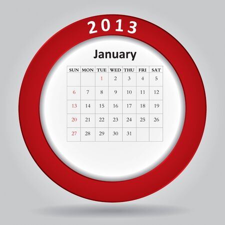 Modern monthly calendar for January, 2013  Stock Vector - 16584588