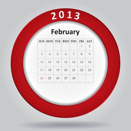 Modern monthly calendar for February, 2013 Stock Vector - 16584590