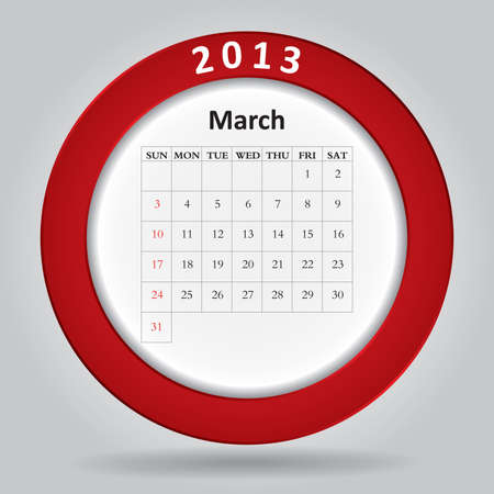 Modern monthly calendar for March, 2013 Stock Vector - 16584587