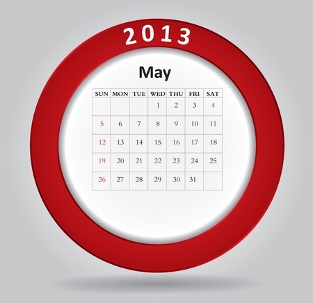 Modern monthly calendar for May, 2013  Stock Vector - 16593716