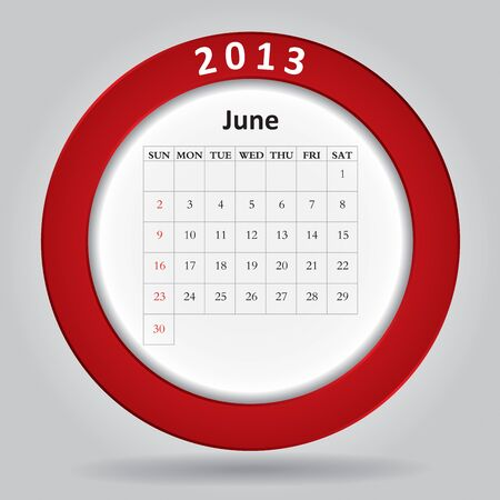 Modern monthly calendar for June, 2013  Stock Vector - 16593717