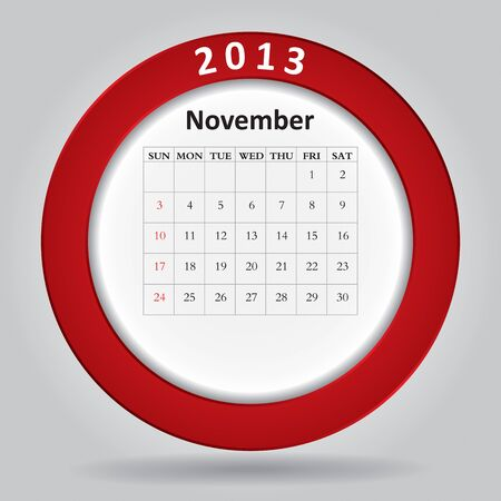 Modern monthly calendar for November, 2013  Stock Vector - 16613644