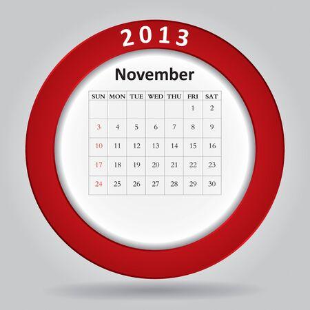 Modern monthly calendar for November, 2013 Stock Vector - 16613644