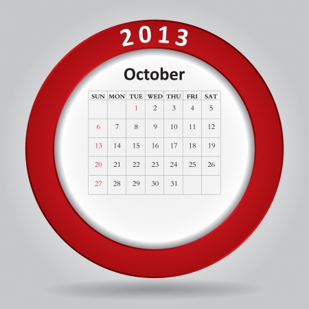 Modern monthly calendar for October, 2013